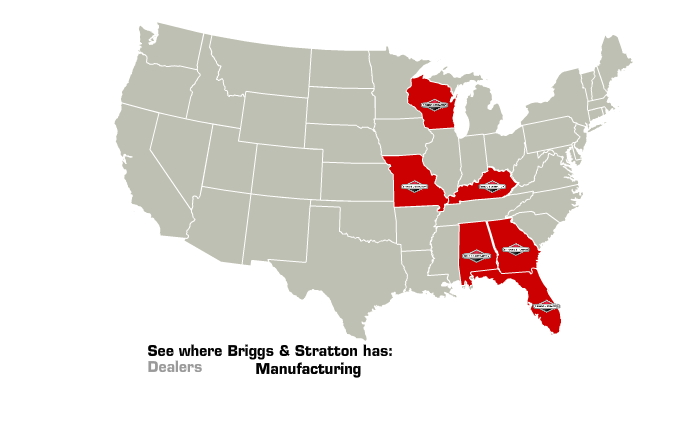 Map of Briggs & Stratton Manufacturing Locations