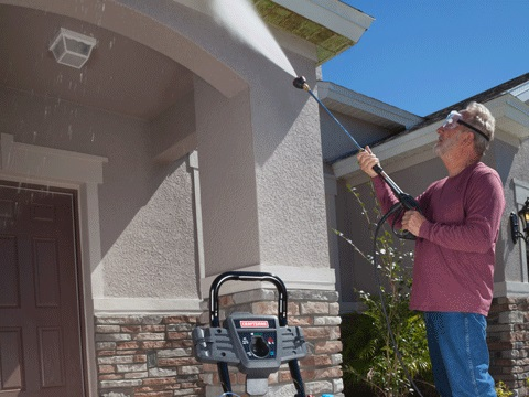 Cleaning Gutters with Pressure Washer